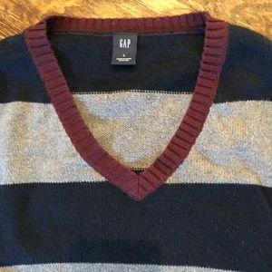 Mens GAP V-Neck Stripe Grey Navy Sweater Large